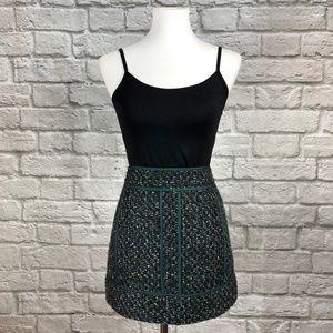 J. Crew Green Moss Tweed Mini Skirt